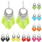 Fashion Retro Earring Hollow Round Silver Plated Drop Resin Leaf Shaped Party