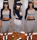 Womens Crop Top and Skirt Clothing Set Sexy Two-piece Clubwear Bodycon Dress