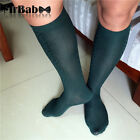 2Pairs Lot Men's Dress Socks,Fashion Dark Green Silky Sheer Crew Mid Calf Socks