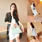Women Sexy Casual Loose Tops Floral Chiffon Blouse Cardigan White/Black