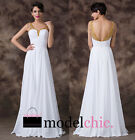 White Chiffon Gold Sequins Prom Bridesmaid Wedding Maxi Dress Size AU6-20