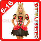 New Ladies Fairytale Alice in Wonderland Queen of Hearts Fancy Dress Up Costume