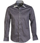 BNWT Claudio Lugli Long Sleeved Mens DOUBLE COLLAR STRIPE Grey SHIRT