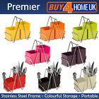 PREMIER CUTLERY CADDY 2 COMPARTMENT CHROME FRAME HANDLE HOLDER SINK TIDY DRIP