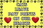 Cats Leave Paw Prints On Our Hearts - Fridge Magnet - Ideal Present/Gift Kitten