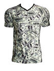 Men's Unique Us Dollars Notes Currency All Over Print V Neck T-shirt Fashion Top