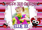 Personalised Girls 1st 2nd 3rd 4th 5th Birthday Party PHOTO Poster Banner N44