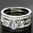 Hers ENGAGEMENT Ring 3 piece CZ 925 Sterling Silver
