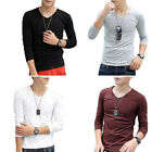 8MI Mens Spring Simple Style Solid Color V-neck 3/4 Sleeves Casual T-shirt M-XXL