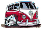 KOOLART CARTOON TEE SHIRT 1933 VW CAMPER VAN RED VOLKSWAGEN BUS SPLIT SCREEN