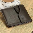 Genuine Leather Mens Wallet Zipper Coin Clutch Purse Vintage Retro Style  Q