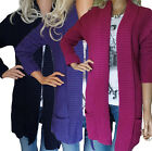 Ladies UK Plus Size 10- 20 Long Cardigans in Navy Purple and Cerise