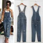 Womens Ladies Baggy Denim Jeans Full Length Pinafore Dungaree Overall EOD