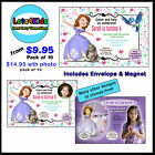 DISNEY PRINCESS SOFIA THE FIRST PERSONALISED PARTY INVITATIONS PACKS OF 10 OR 15
