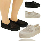 Womens Crochet Lace Platform Wedge Pumps Plimsolls Trainers Ladies Skater Shoes