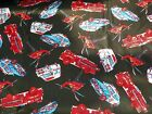 RESCUE HELICOPTER POLICE FIRE TRUCK AMBULANCE - PATRIOTIC  100% COTTON - 2 YDS