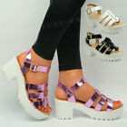 Womens Chunky Heel Sandals Ladies Strappy Gladiator Block Platform Shoes Size UK