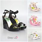 "NEW Womens Summer Beach Jelly Ankle Strap High 4.5"" Wedge Heel Party Sandals"