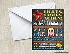 Hollywood Movie Theater Chalkboard Birthday Party Invitations Personalized