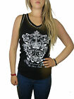 Size 8 - 12 LADIES VEST T SHIRT TOP WHITE OR BLACK WOMENS Embellished
