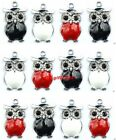 new red black white owl Metal Charms pendants DIY Jewellery Making crafts 2.3cm