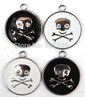 White & Black Skull Metal Charms pendants DIY Jewellery Making crafts 2.9cm