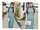 Vintage Chinese Dress Linen Sleeveless Bodycon Cheongsam Blue Qipao QingQiu