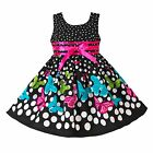 Girls Dress Black Dot Butterfly Fashion Cotton Party Pageant Kid Clothing 2-10T