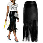 Sexy Black Women's Stretch Bodycon Pu Leather Skirt Pencil Long Fringed Dress