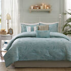 BEAUTIFUL REVERSIBLE BLUE GREY OCEAN BEACH COASTAL NAUTICAL SHELL COMFORTER SET image