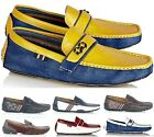NEW MENS LEATHER LOOK CASUAL DESIGNER INSPIRED LOAFERS MOCCASINS SLIP-ON SHOES