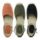 AnnaKastle Womens Genuine Leather Suede Espadrilles Flat Sandal US 5 6 7 8