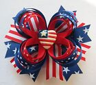 Patriotic USA flag Hair bow headband Veterans day 4th of July Memorial Day