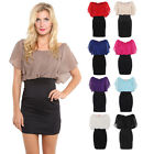 Pencil Oversize Contrast High Waist Pleated Chiffon Batwing Dress Party Top 8-20