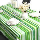 Rectangle 100% Cotton Table Cloth Tablecloth Cover Green White Strip 6 8 Seater