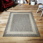 Greek Key Design Flatweave Anti Slip Rugs / Mats And Rug Runners, Grey - 5 Sizes