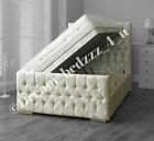 CRUSHED VELVET STORAGE OTTOMAN DIVAN BED UPHOLSTERED HEADBOARD + FOOTBOARD