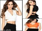 Women Draped Georgette Sleeveless V Neck Fashion Party Crop Top Shirt Belly
