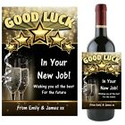 Personalised Wine Champagne Bottle Label GOOD LUCK New Job Gift Idea N63