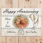 Personalised Diamond 60th Wedding Anniversary PHOTO Poster Banner N49