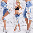 Sexy Womens skinny Capri Jeans with Lace trim Light Blue Faded UK 6 8 10 12 14
