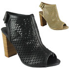NEW WOMENS LADIES VELCRO PEEPTOE CUTOUT HIGH BLOCK HEEL PARTY SHOES SANDALS SIZE