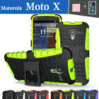 TPU Case Cover For Motorola Moto X Silicone Shockproof Heavy Duty With Kickstand