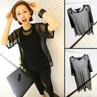 Women See through Sheer Mesh Tee Shirt Oversize Tops Blouse Long and Short Style