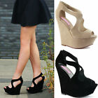 WOMENS LADIES MID HIGH HEELS STRAPPY PLATFORM WEDGE PEEP TOE SUMMER SANDALS SIZE