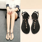 Fashion Womens sandals Flip Flops strappy skull Real leather flat beach shoes