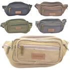 Strong Lightweight Canvas Bumbag / Waist Bag - Black, Grey, Khaki, Brown, Green