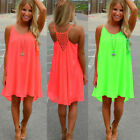Women's Fashion Casual Sleeveless Evening Party Beach Dress Short Mini Dress