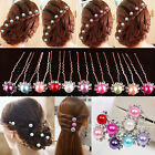 20pcs Crystal Diamante Rhinestone Flower Pearl Hair Pins Slide Clip Grips Bridal