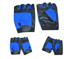 WEIGHT LIFTING GYM LEATHER PADDED GLOVES ALL SPORTS WHEELCHAIR BLACK/BLUE